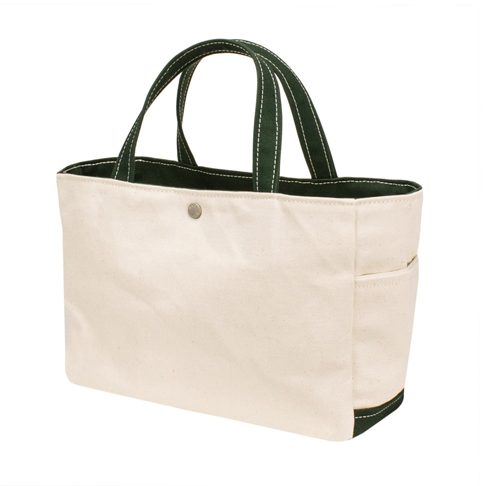 SQUARE TOTE - Natural × Green