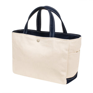 SQUARE TOTE - Natural × Navy