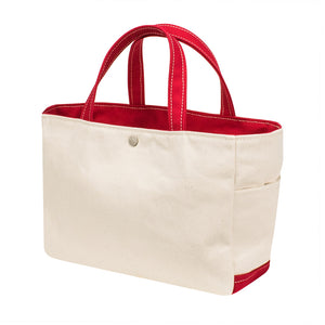 SQUARE TOTE - Natural × Red