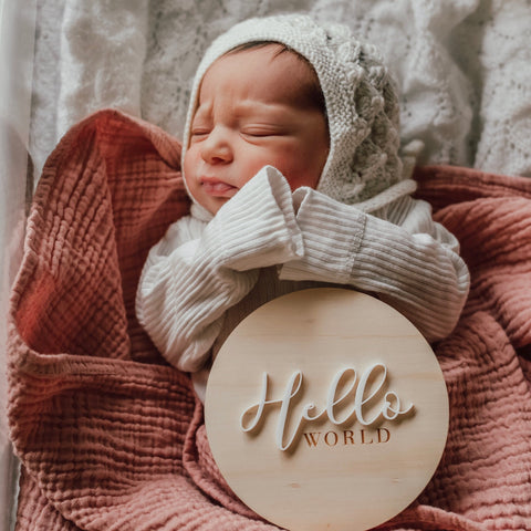 Hello World Birth Announcement Plaque
