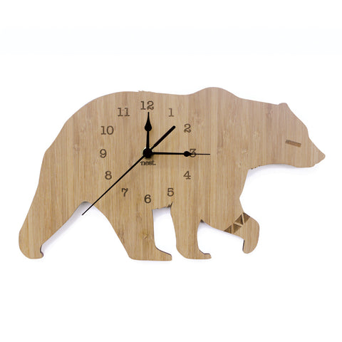 Bear Wall Clock - Wood