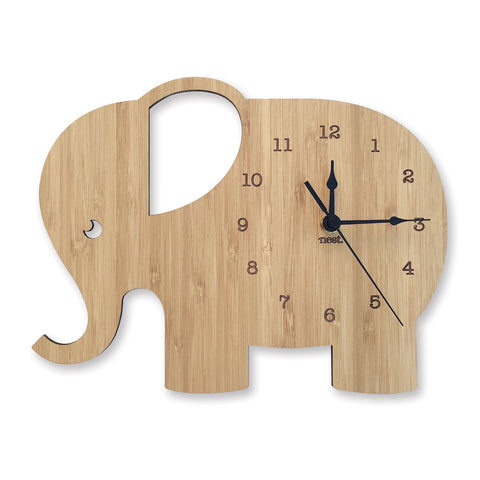 Elephant Wall Clock - Wood