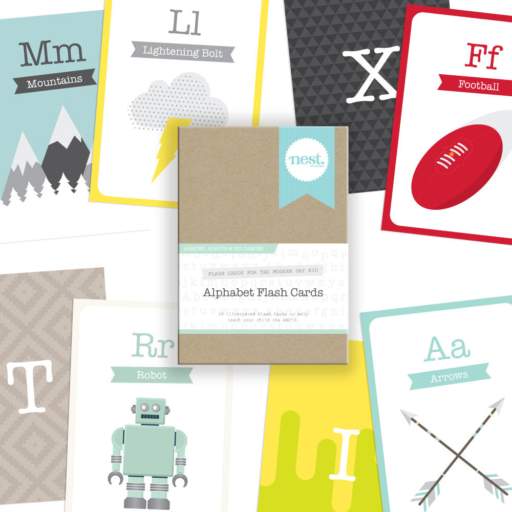 Alphabet Flash Cards - Arrows, Robots & Volcanoes