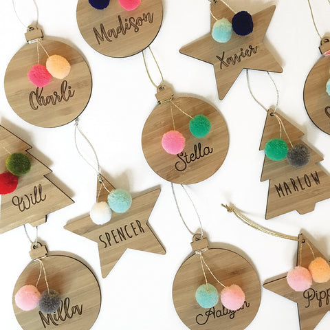 Personalised Christmas Pom Pom Ornament