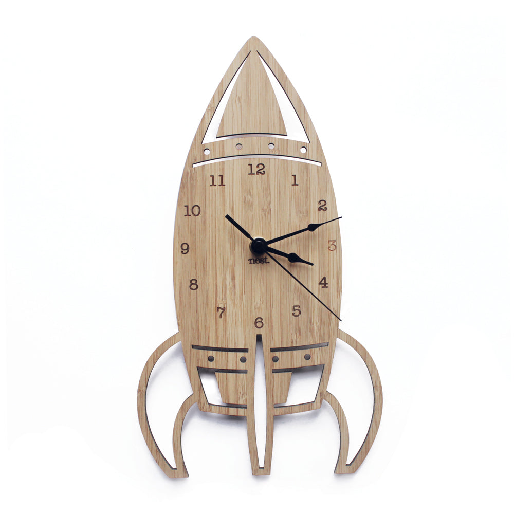 Rocket Wall Clock - Wood