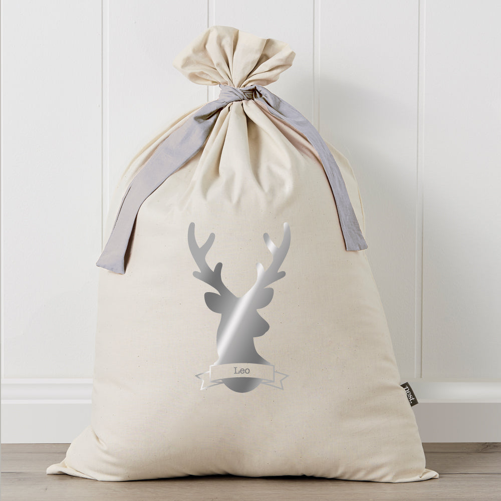 Stag Metallic Personalised Santa Sack