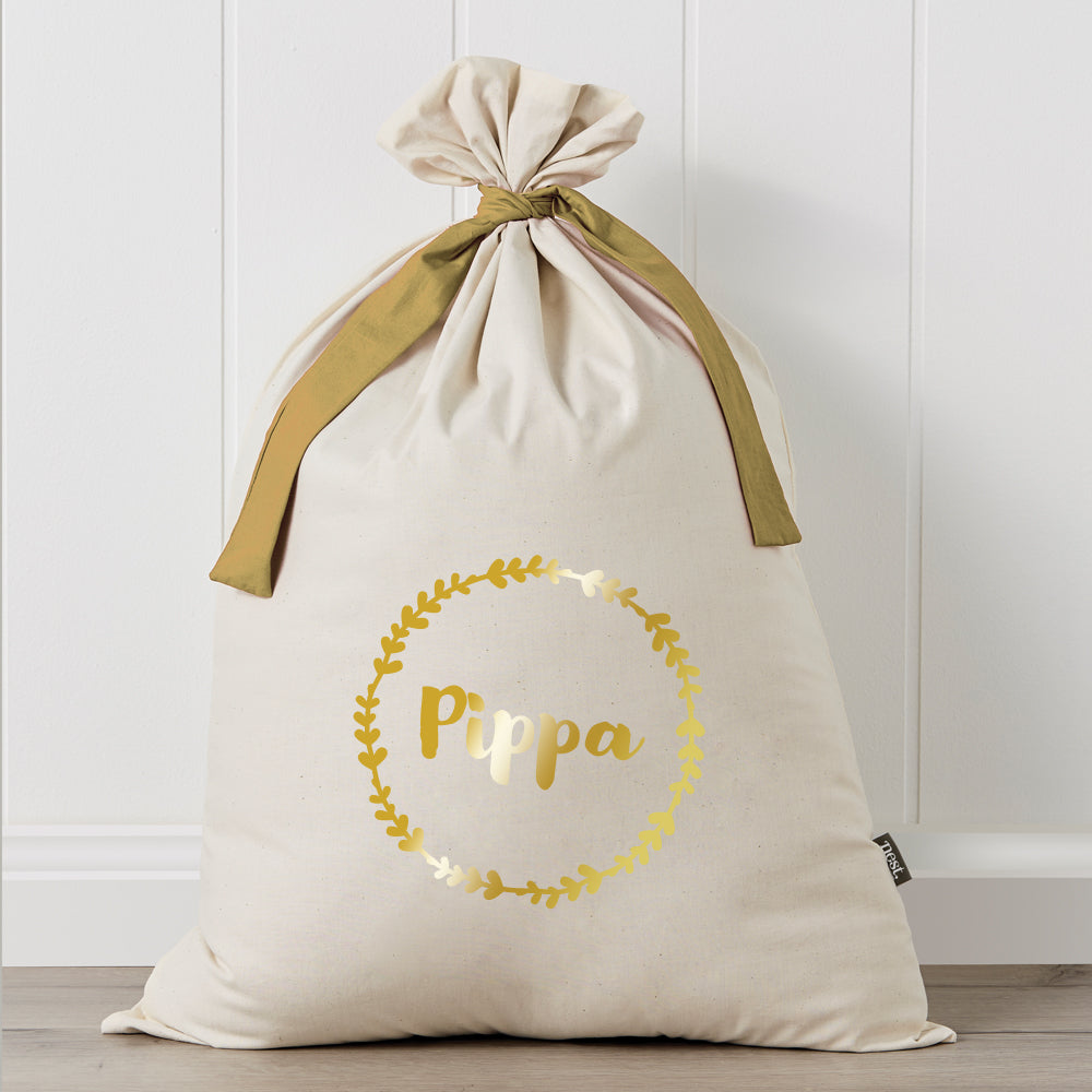 Wreath Metallic Personalised Santa Sack
