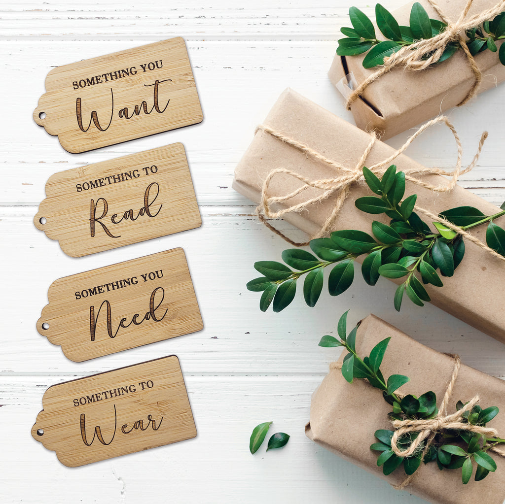 Something you Want, Need, Wear, Read. Simplicity Gift Tags - Set of 4