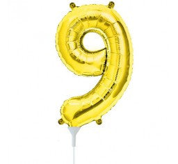 Small Number Balloon 9 - 41cm Gold - Air filled only