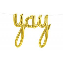 Gold Yay Balloon Script - Air Fill Only