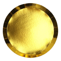 Metallic Gold Paper Plates | Round | Lunch | Pk10
