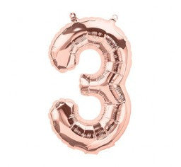 Small Number Balloon 3 - Rose Gold - Air filled only
