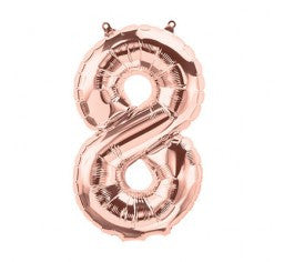 Small Number Balloon 8 - Rose Gold - Air filled only