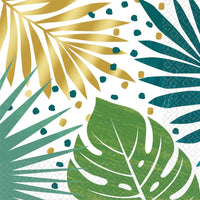 Palm Leaves Foil Print | Lunch Napkins | PK16