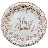 Rose Gold & white Happy Birthday Paper Plate PK8