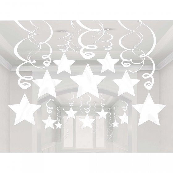 Hanging Decoration Stars White Pk 30