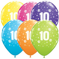 10th Birthday Balloons Assorted - Single or Pack - Helium Filled - Flat