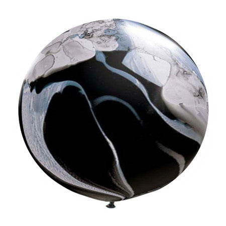 Round Black & White Marble Balloon 90cm
