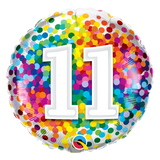 11th Birthday Balloon Confetti / Flat - Helium Filled - Bouquet