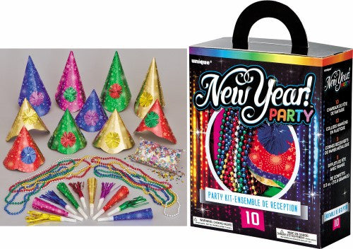 NEW YEAR PARTY KIT FOR 10 - ASSORTED COLOURS