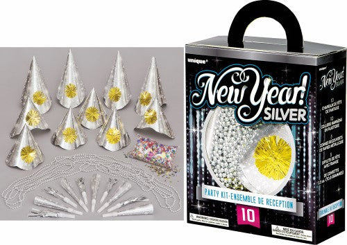 NEW YEAR PARTY KIT FOR 10 - SILVER
