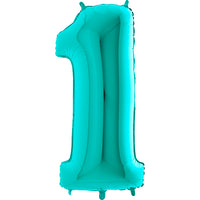 Large Number 1 Balloon - Turquoise