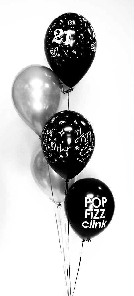 Five Balloon Arrangement Black & Silver - Choose your occasion