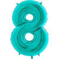Large Number 8 Balloon - Turquoise