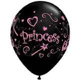 Princess Balloons Black - Single or Pack - Helium Filled or Flat
