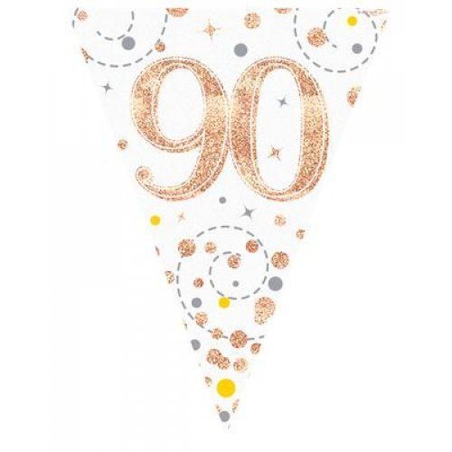 Rose Gold Sparkling Bunting | 90th Birthday