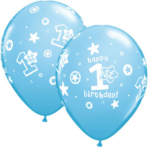 1st Birthday Balloons Blue - Single or Pack - Helium Filled - Flat