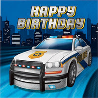 Police Party Happy Birthday Lunch Napkins Pk16