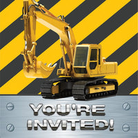 Construction Birthday Invitations Pk8