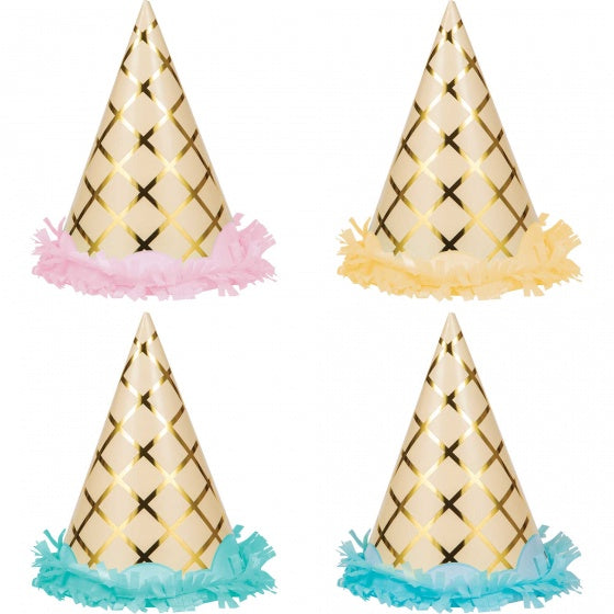 Ice Cream Party Hats | Gold Foil
