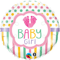 Baby Girl Balloon - Baby Feet / 2 Sided