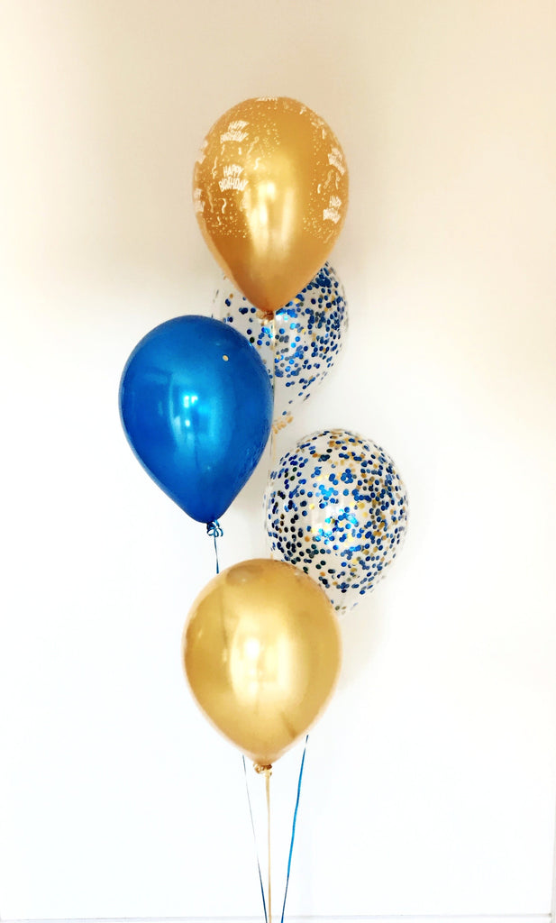 Five Balloon Arrangement with Happy Birthday & Confetti - Choose your colours
