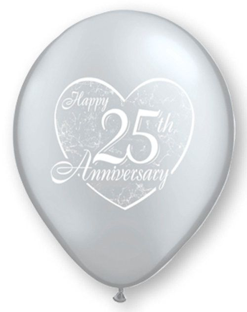 25th Anniversary Balloons Silver - Singles or Packs - Helium Filled or Flat