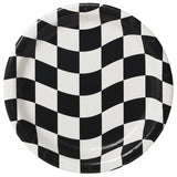 Racing Checkered Paper Snack Plates Pk8