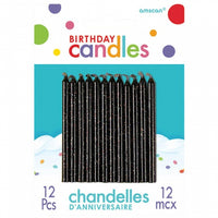 Black Glittered Candles Pk12