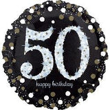 50th Birthday Balloon - Black & White Sparkling