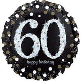 60th Birthday Balloon - Sparkling Black & White