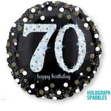 70th Birthday Balloon -  Sparkling Happy Birthday Foil Balloon