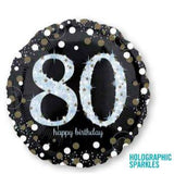 80th Birthday Balloon White & Black Sparkling