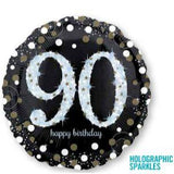 90th Birthday Balloon - Silver & Black Foil Balloon
