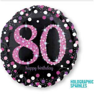 80th Birthday Balloon - Pink & Black Sparkling