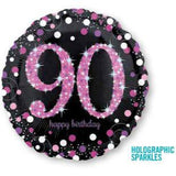 90th Birthday Balloon - Pink Sparkling Foil Balloon