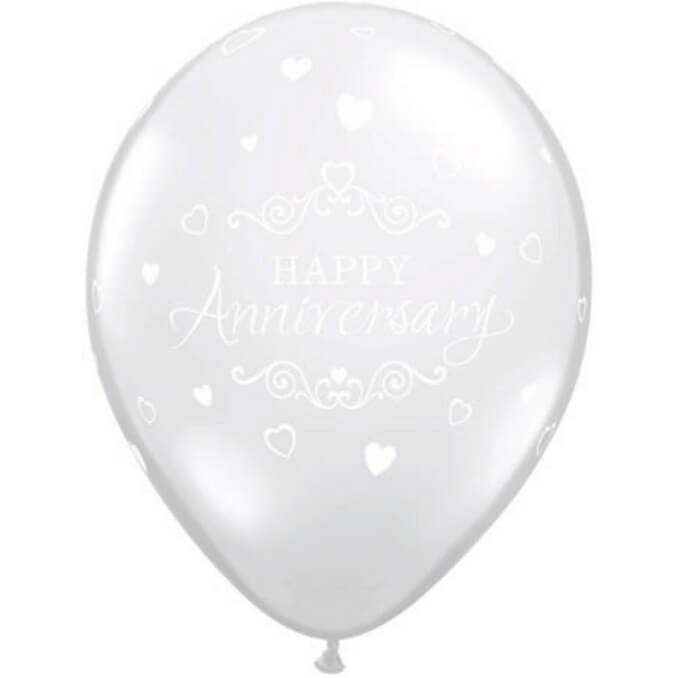 Anniversary Balloons Clear - Singles or Packs - Helium Filled or Flat