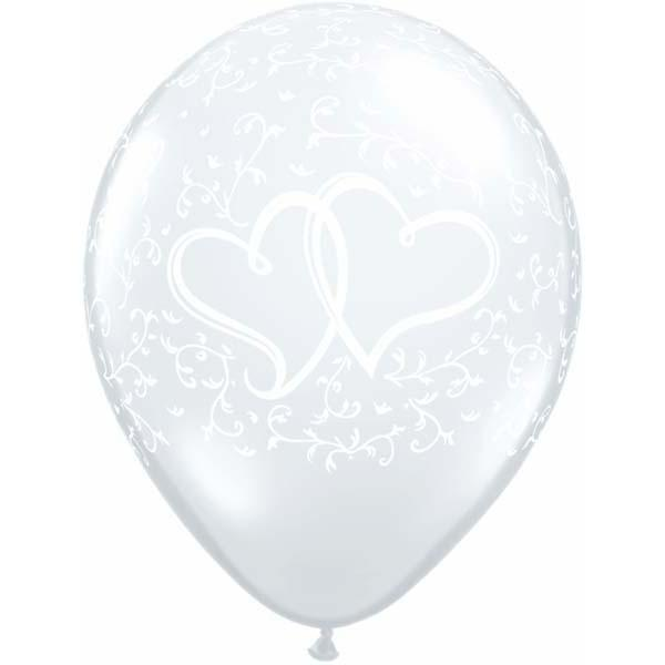 Entwined Heart Balloons Clear - Singles or Packs - Helium Filled or Flat