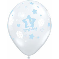 1st Birthday Balloons Blue Clear - Single or Pack - Helium Filled - Flat