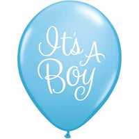 Its A Boy Balloons Blue - Singles or Packs - Helium Filled or Flat